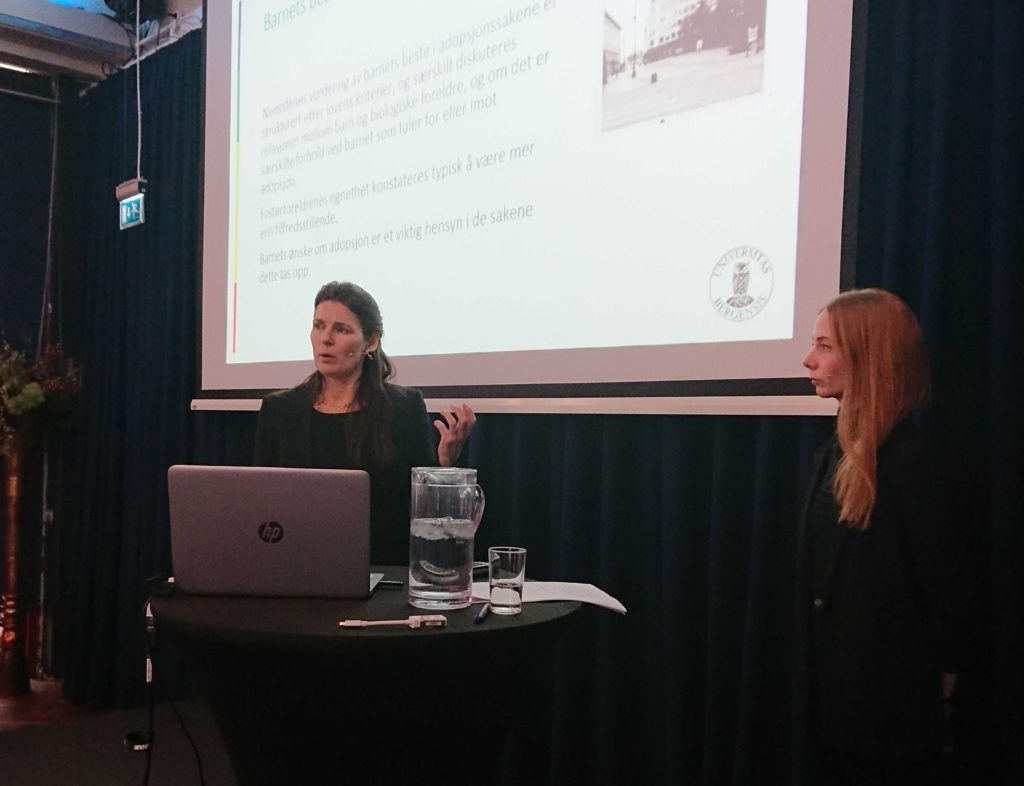 Marit Skivenes and Hege Stein helland presenting the report on adoption for the Directorat in February 2019.